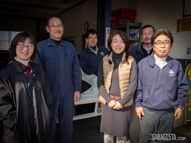 AC Minds -L~R Hiromi Ido,  Kaoru Itakura , Fujio Hara Parts Manager, Mr and Mrs Sakata and Kenzo Honda